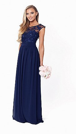 Dark blue, semi-transparent maxi dress with chiffon folds