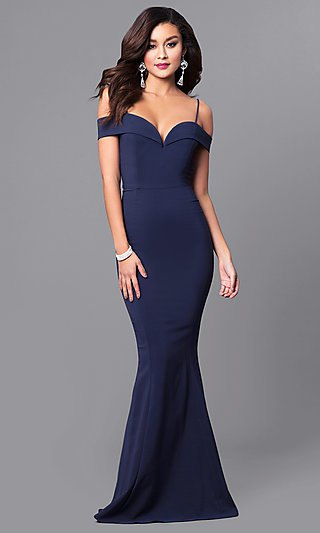 Dark blue maxi dress with a heart-shaped neckline