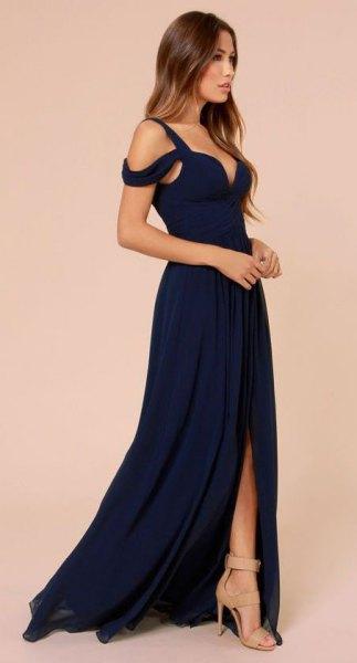 dark blue cold shoulder deep v-neck maxi dress with high slit
