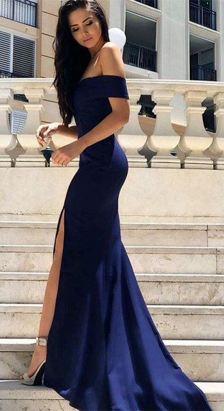 Dark blue, off-the-shoulder maxi dress with silver, open toe heels