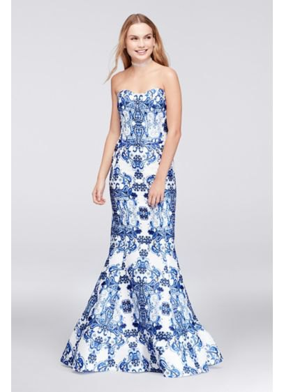 Navy blue and white off the shoulder tribal printed evening dress