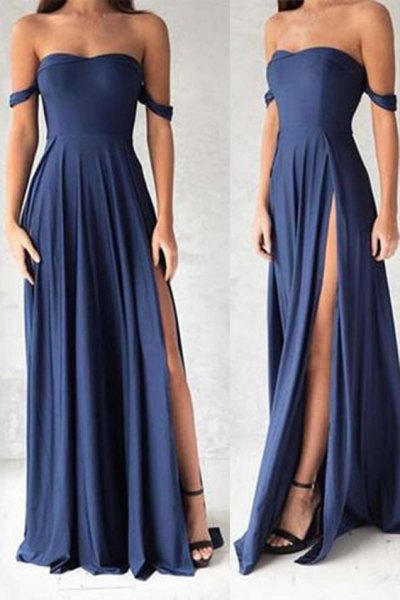Fit and flare maxi navy blue dress with open toes black heels