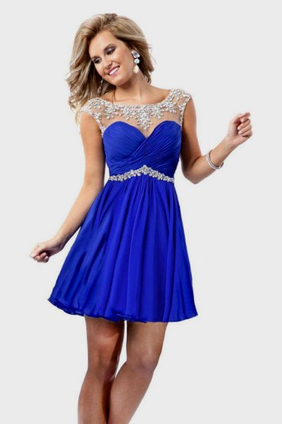 silver and royal blue fit and flares mini dress with belt