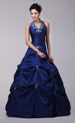 Halter dark blue fit and floor-length dress with flared flare