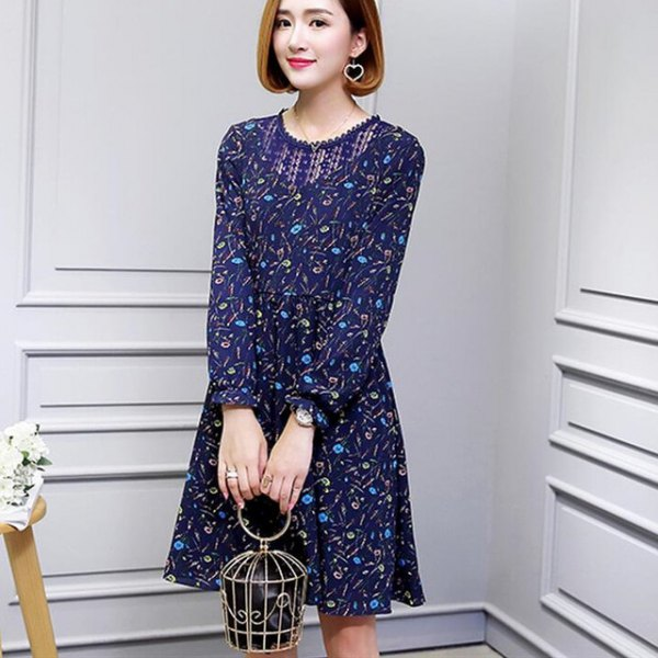 dark royal blue mini swing dress with floral pattern