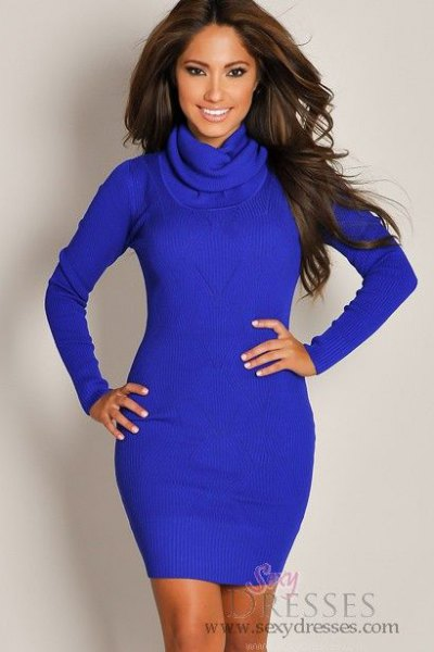 light blue, long-sleeved, figure-hugging mini dress with stand-up collar