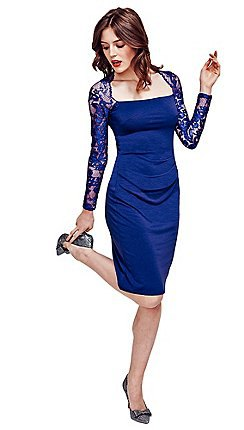 dark blue, long-sleeved, form-fitting midi dress made of lace