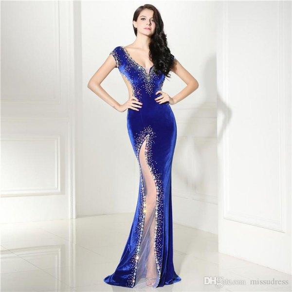 Royal blue and silver sweetheart neckline mermaid high split dress