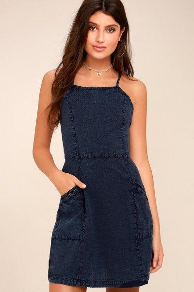 Dark blue short dress with a square neckline