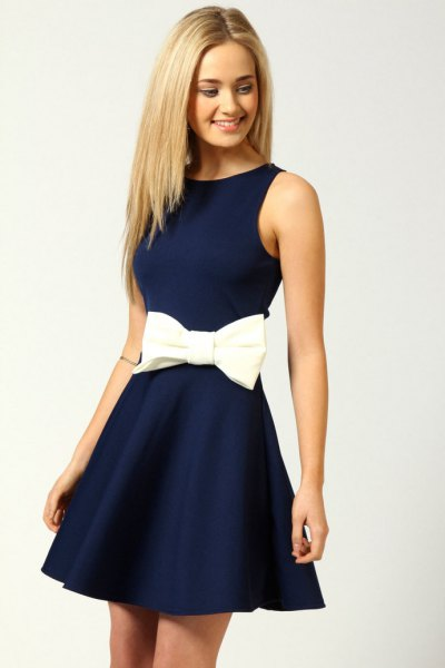 Fit and flare band waist navy blue short dress