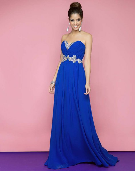 royal blue sweetheart neckline with belt and long flared dress