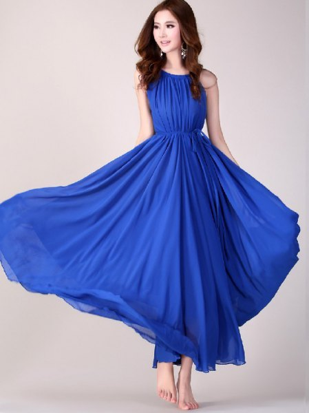 Pleated royal blue sleeveless fit and flared maxi dress