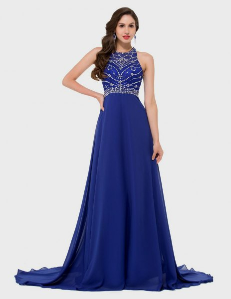 Sequin fit with halter neck and detailed, royal blue long dress