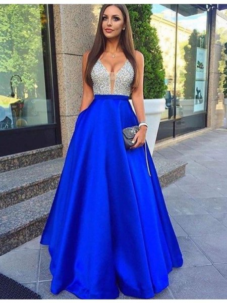 two tinted silver sequins and royal blue cotton with long dress and flared dress