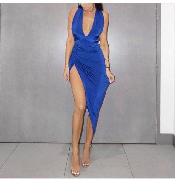 deep, form-fitting, deep midi dress with V-neck