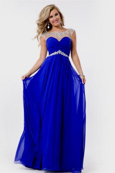 semi-transparent long blue chiffon dress with belt