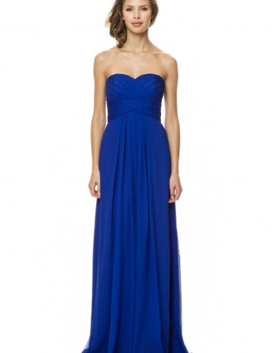 strapless fit and flared royal blue long pleated dress