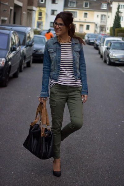 Denim jacket with cargo pants