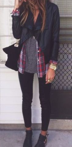 black jacket with gray t-shirt and plaid boyfriend shirt