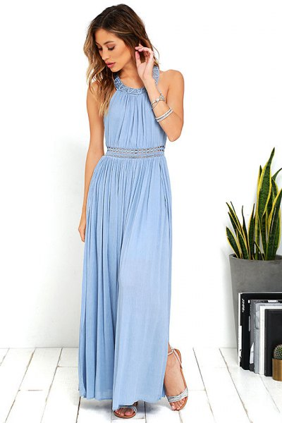 Fit and flap light blue halter pleated long dress