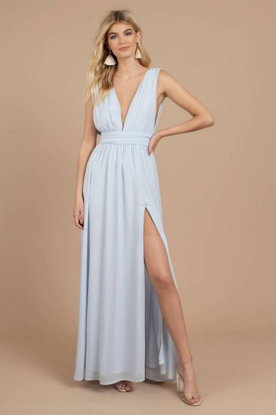 Light blue fit and flared, deeply divided maxi dress with a deep V-neck