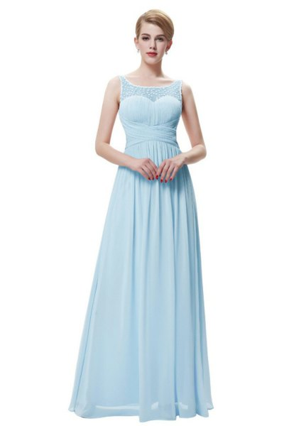 Fit and blow chiffon light blue sleeveless long dress