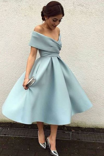 Midi off shoulder fit and flare light teal blue dress