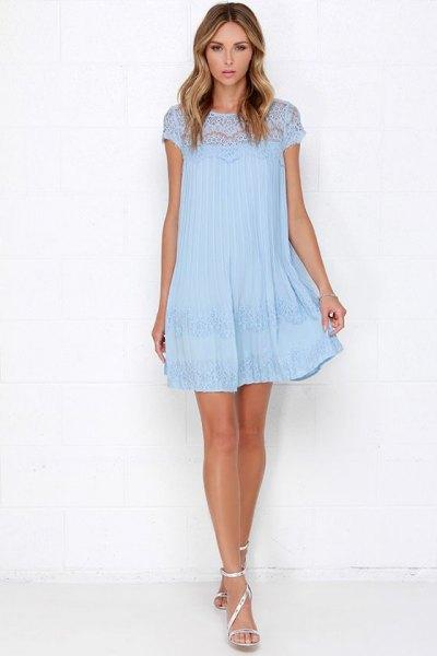 Cap Swing Mini Swing light blue lace dress