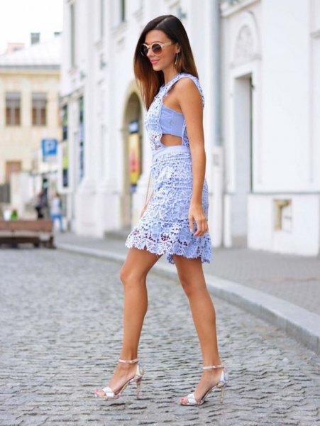 Mini lace neckline side light blue dress