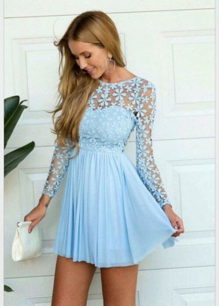 Long-sleeved fit and flare, semi-transparent mini pleated dress made of lace