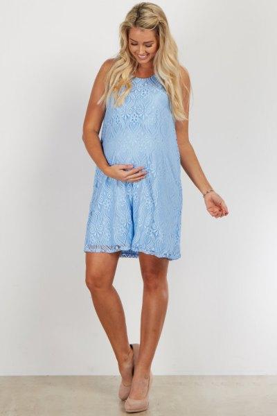 sleeveless light blue maternity lace dress