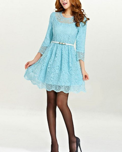 Long sleeve fit with belt and flared lace mini dress with stockings