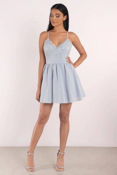 Spaghetti straps light blue fit and flared mini dress