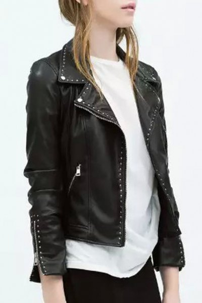 black punk leather studded jacket with white, oversized T-shirt