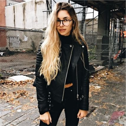 black leather jacket with matching crop top