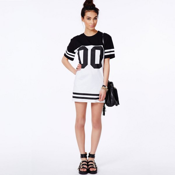 Black and white baseball t-shirt dress with sandals