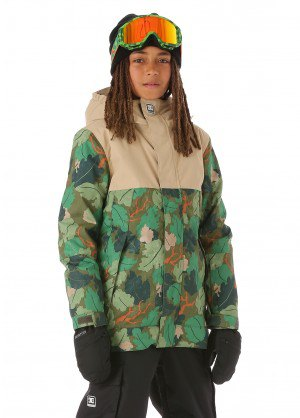 Camo snowboard jacket with black snow pants