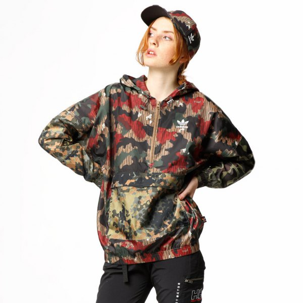 Camo baseball cap with matching windbreaker