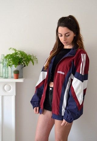 Vintage red, white and navy blue windbreaker with black mini denim shorts