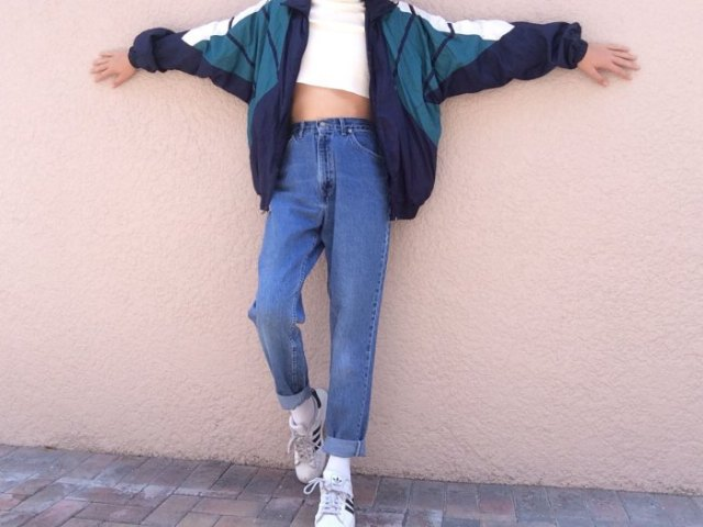 gray and white color block windbreaker with mother jeans