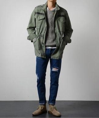 gray oversized polo windbreaker with dark blue skinny jeans