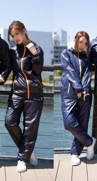 black reflective windbreaker with matching running pants