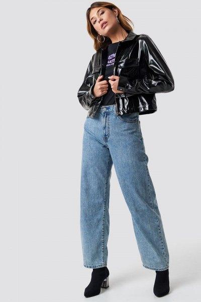 black short shiny jacket with blue mom jeans