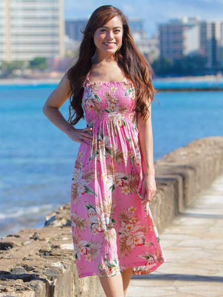 pink and white floral fit and flared midi dress