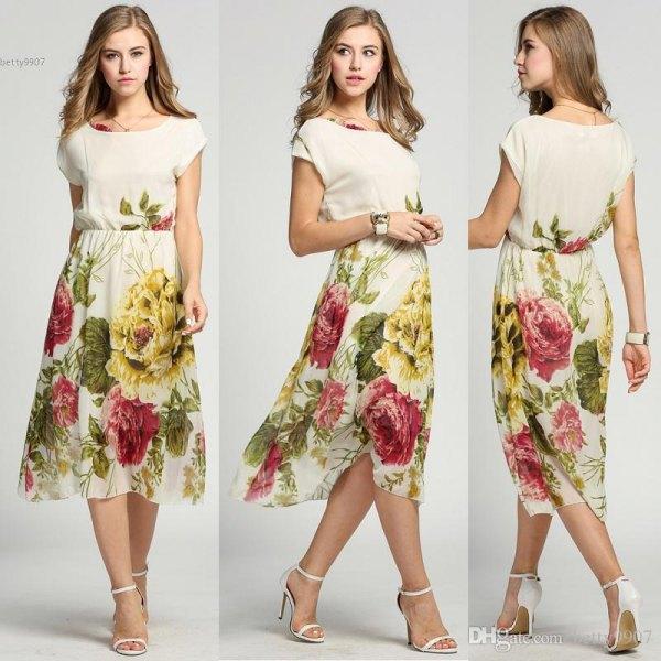 Light pink fit and flare midi chiffon Hawaii dress