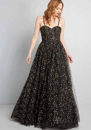 black dotted fit and flare floor-length Hawaiian summer dress