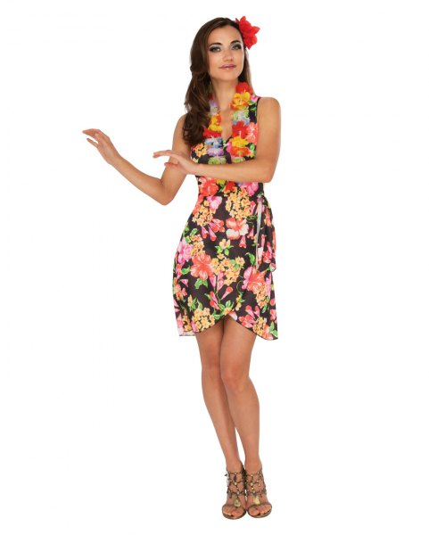 black and yellow sleeveless shift dress with mini flower pattern