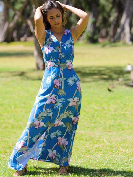 teal blue and white dress with floral pattern and sleeveless Hawaiian dress