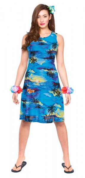 sleeveless shift dress with blue and black printed shift dress and flip-flops