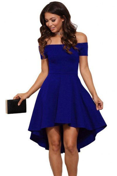 blue off the shoulder mini fit and flare cocktail dress